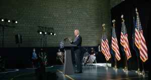 Former US vice-president and candidate for the presideny Joe Biden gives a news conference in Lancaster, Pennsylvania on June 25th. Photograph: Hannah Yoon/New York Times