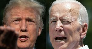 US president Donald Trump and Joe Biden, the presmumptive Democratic candidate in November's election. Photographs: Jim Watson, Dominic Reuter//AFP via Getty Images