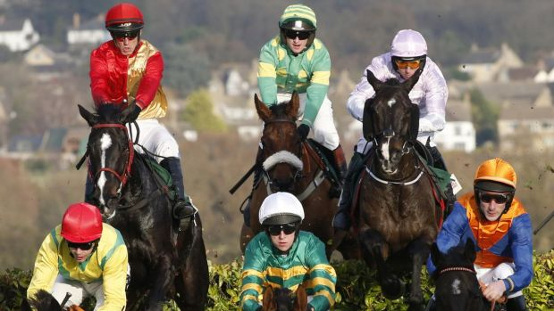 Action from the Glenfaclas Cross Country Handicap Steeple Chase in 2016. Photograph: Alan Crowhurst/Getty Images
