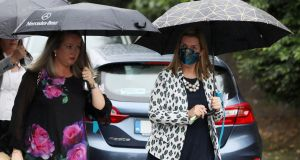 CervicalCheck campaigners Vicky Phelan (right) and Lorraine Walsh at the funeral of fellow campaigner Ruth Morrissey in July. Photograph: Brian Lawless/PA Wire