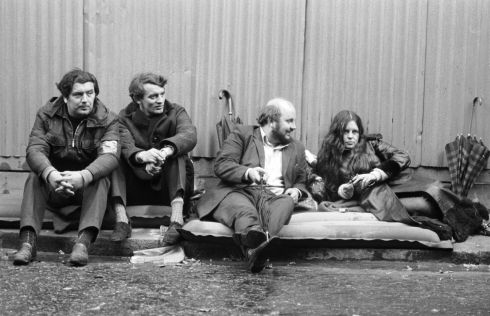 20th October 1971:  Bernadette Devlin, independent MP for Mid-Ulster, with three Stormont opposition MP's (left to right), John Hume, Austin Currie and Paddy O'Hanlon, continue their two-day sit-in hunger strike outside 10 Downing Street to press their demand for a public enquiry into the treatment of detainees in Northern Ireland.   Photograph: Roger Jackson/Central Press/Getty Images