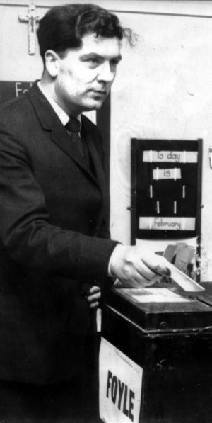 February 1969. Mr. John Hume, the Civil Rights leader, who is contesting Mr. Eddie McAteer's seat as an Independent, also cast his vote at the Holy Child polling station yesterday morning.   Photograph: Tommy Collins / The Irish Times