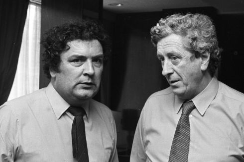 June 1982. SDLP Conference. The SDLP leader, Mr John Hume, and the Fine Gael leader, Dr Garret FitzGerald, at the conference, yesterday in The Europa hotel, Belfast.   Photograph: Dermot O'Shea / The Irish Times