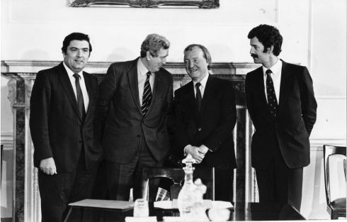 March 1983. At a meeting in Leinster House to discuss arrangements for an all-Ireland forum were from left John Hume MEP, leader of the SDLP,  the Taoiseach, Dr Garret FitzGerald, the Fianna Fail Leader Charles Haughey, and the Tanaiste, Dick Spring. Photograph: Peter Thursfield/The Irish Times