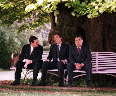 21/05/98: British prime minister Tony Blair chats to Ulster Unionist leader David Trimble and SDLP leader John Hume after a working breakfast at the Dunadry hotel on the outskirts of Belfast as the trio prepared for a final push for a YES vote in the next day's referendum. Photograph: Pacemaker