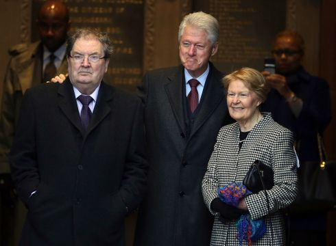 05/03/2014. Former US president Bill Clinton (centre) with John Hume and his wife Pat at the Guildhall in Derry, the former SDLP leader has died at the age of 83. Photograph: Paul Faith/PA Wire