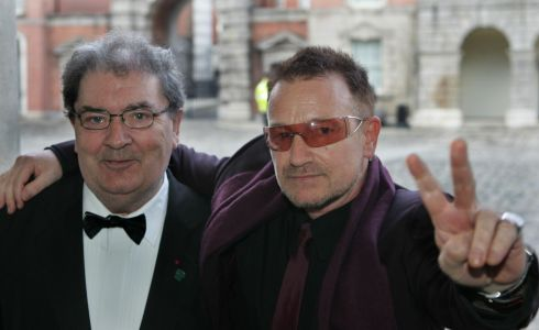 11/04/2008 John Hume and Bono arrive at a gala banquet in Dublin Castle organised by the Turn the Tide of Suicide charity to mark the 10th anniversary of the Belfast Agreement. Photograph: Matt Kavanagh/The Irish Times