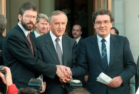 6th September 1994. An Taoiseach Albert Reynolds shakes hands with Sinn Fein leader Gerry Adams and SDLP leader John Hume outside Government Buildings after a discussion of ways to advance the peace process following the IRA's ceasefire announcement of August 31st. Photograph: Matt Kavanagh/The Irish Times
