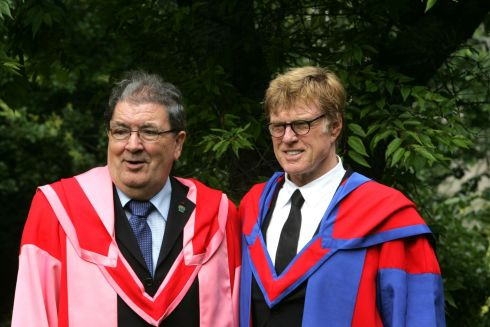 July 2008. John Hume on whom an honorary degree, (Doctor in Laws) was conferred with Robert Redford on whom an honorary degree (Doctor in Letters) was conferred yesterday at  Trinity College.