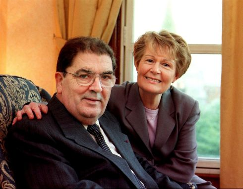 23/12/1999. John Hume and his wife Pat photographed at home in the Bogside, Derry. Photograph: Bryan O'Brien/The Irish Times