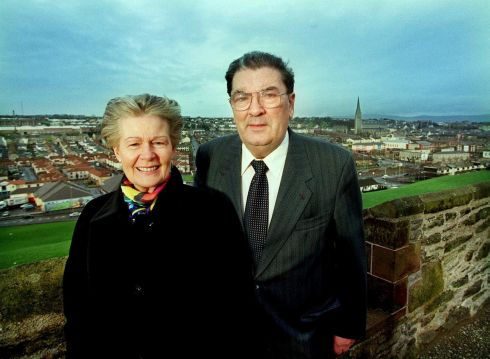 23/12/1999. John Hume and his wife Pat photographed above the Bogside on the city walls in  Derry. Photograph: Bryan O'Brien/The Irish Times