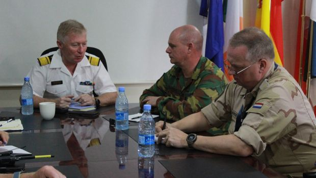 Irish Coast Guard director and head of mission for EUCap in Somalia, Chris Reynolds (left), at a meeting in Mogadishu earlier this year.