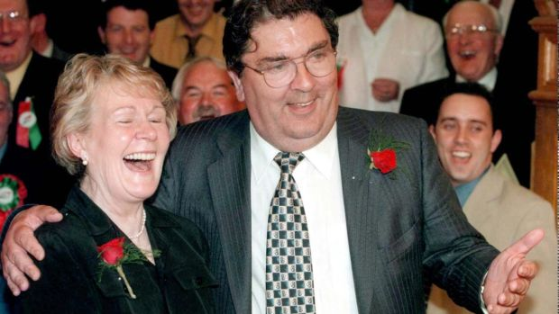 SDLP leader John Hume celebrates with his wife Pat after winning a seat in Foyle, at the Guildhall, Derry. File photograph: Brian Little/PA