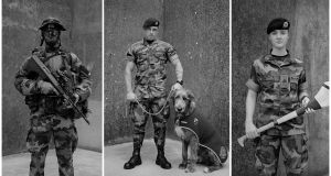 The Bloods: Recce Platoon Soldier - Night Vision, Private Oisin Roche, 2019 (left); Battalion Mascot and Handler, Irish Wolfhound Fionn, Private James Dooley, 2016 (centre); and Soldier, Camogie Player, Private Ciara Nevin, 2019