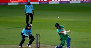 Ireland's Paul Stirling bats during the third One-Day International against England, his knock of 142 helping his side to a seven-wicket victory at the Ageas Bowl in Southampton. Photograph: Adrian Dennis/NMC Pool/PA Wire