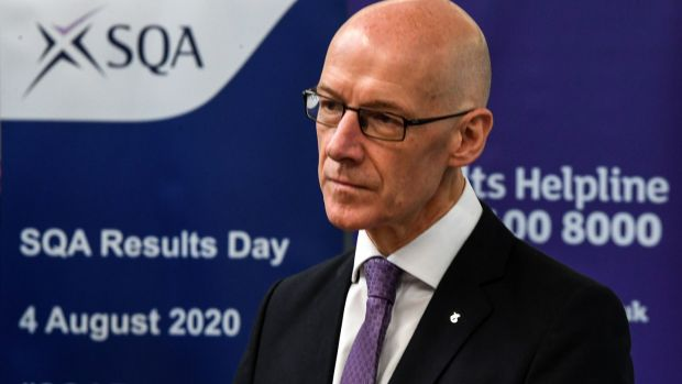 John Swinney, the Scottish education secretary, said that without the SQA adjusting grades, the number of passes based on school recommendations would have been far higher. Photograph: Andy Buchanan/PA Wire