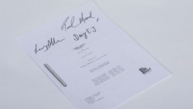 Celebrity Charity: Episode one script from the demonstrate Fashioned Participants, signed by stars Paul Mescal, Daisy Edgar-Jones and director Lenny Abrahamson. Photo: SON Photographic Ltd T/A Coalesce/PA Wire