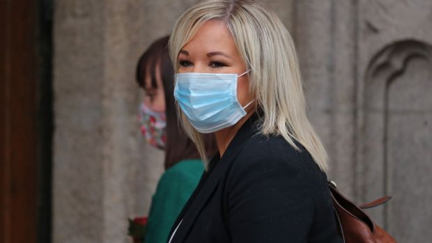 Deputy First Minister Michelle O'Neill outside St Eugene's Cathedral. Photograph: Niall Carson/PA Wire