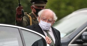 The President of Ireland Michael D. Higgins arrives at St Eugene's Cathedral in Derry. Photograph: Niall Carson/PA Wire