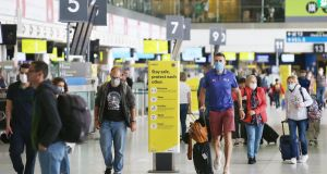 A file image of Dublin Airport. NPHET said 7.8% of cases notified over the last fortnight are associated with travel. Photograph: Collins Photos
