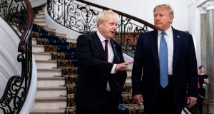 UK Prime Minister Boris Johnson and US President Donald Trump. Seargeant's book explains how reality and fact have been thrown into doubt by Trump and Conway, Johnson and Cummings. Photograph: Erin Schaff/The New York Times.