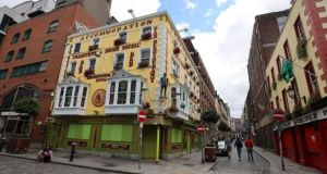 Closed pubs in Dublin's Temple Bar. Publicans had hoped they would be able to reopen on August 10th. Photograph: Collins
