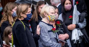 Pat Hume as the funeral takes place of her husband John Hume. Photo graph: Stephen Latimer/POOL/Getty Images