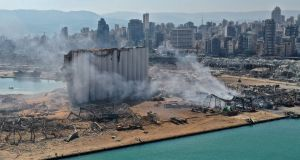 An aerial photograph shows the huge damage done to Beirut port's grain silos and the area around it, on Wednesday. Photograph:  AFP via Getty Images