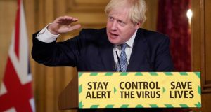 "British prime minister Boris Johnson. He  has insisted his government did not bring in quarantine rules earlier because ""the scientific advice was very clear that it would make no difference"" to the arrival of the epidemic. Photograph:  Getty Images"