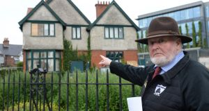 Proinsias Ó Rathaille, grandson of The O'Rahilly, outside the badly vandalised house of The O'Rahilly at Herbert Park, Ballsbridge, Dublin, on Wednesday. Photograph: Dara Mac Dónaill