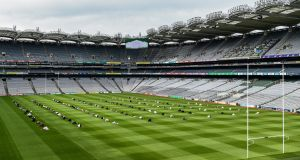 In the absence of GAA games, Croke Park was the venue as  200 people gathered to mark the Muslim festival of Eid Al Adha recently.  Photograph:  Ray McManus/Sportsfile
