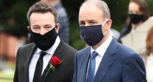Taoiseach Micheál Martin (right) alongside SDLP leader Colum Eastwood. Photograph: Niall Carson/PA Wire