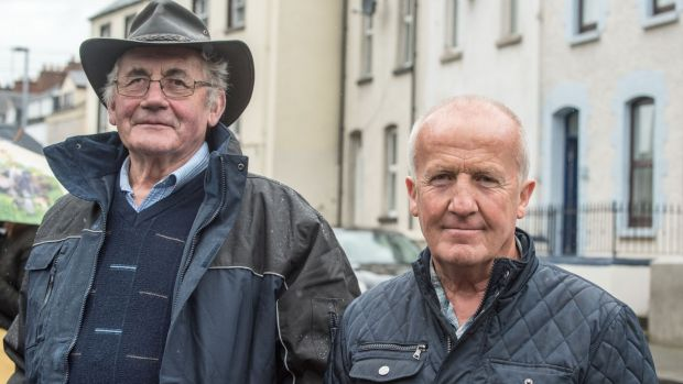 John Moore and Ned Furlong, who came from Adamstown, Co Wexford, to be in Derry for the funeral. Photograph: Freya McClements