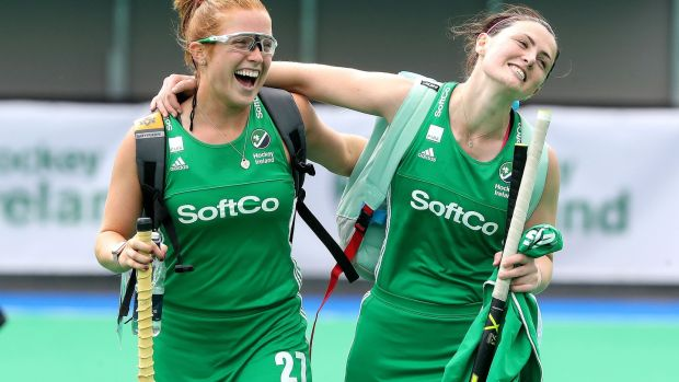 Roisin Upton with Zoe Wilson after a match between Ireland and Singapore in June 2019.Photograph: Bryan Keane/Inpho