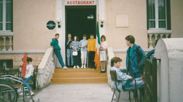 Growing up with arthritis: Sinéad Gleeson (mustard-coloured jumper) at Lourdes hotel.