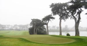 A general view of the 18th green at TPC Harding Park during a practice round prior to the 2020 US PGA Championship. Photograph: Harry How/Getty Images