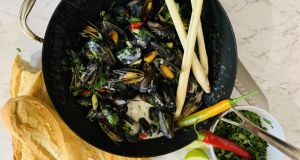 Joyce Timmin's steamed mussels in a coconut broth