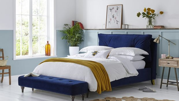 French navy bed and stool from DFS