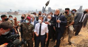French president Emmanuel Macron  visiting the devastated site of this week's explosion at the port of Beirut, Lebanon. Photograph: Dalati Nohra/Lebanese government/EPA