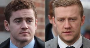 Paddy Jackson (left) and Stuart Olding were acquitted of rape following a trial in Belfast. The expert group  has  concluded some of the problematic features with that  trial could not arise in a rape case here. Photograph:  Niall Carson/PA Wire