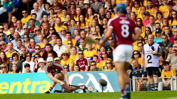 Galway's Joe Canning scores a late sideline cut during the 2018 All-Ireland SHC quarter-final against Clare at Semple Stadium. Photograph: James Crombie/Inpho
