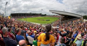 The teams parade at Semple Stadium ahead of the 2018 All-Ireland hurling semi-final replay between Clare and Galway. Photograph: Bryan Keane/Inpho