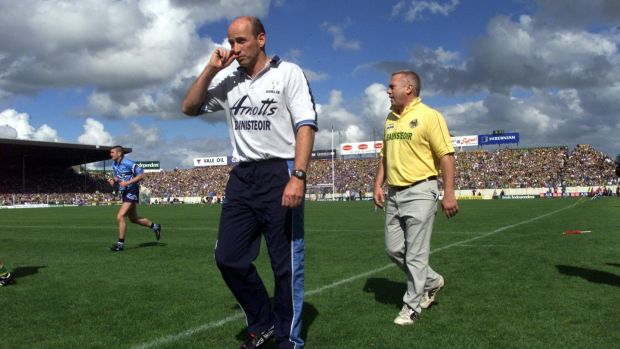 Rival managers Tommy Carr of Dublin and Páidí Ó Sé of Kerry during the 2001 All-Ireland SFC quarter-final at Semple Stadium. Photograph: Billy Stickland/Inpho