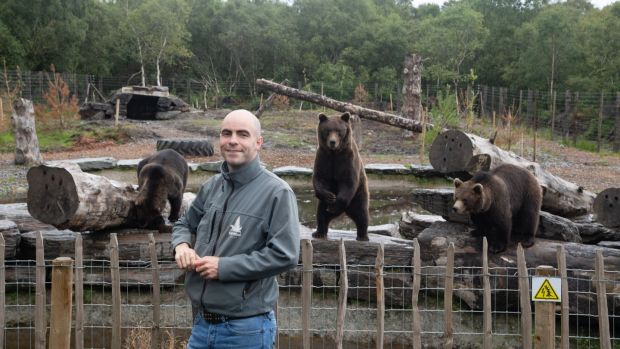 Killian McLaughlin with the wild bears in the Wild Ireland Sanctuary in Burnfoot, Co Donegal. Photograph: Joe Dunne