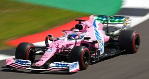 "The Racing Point car has caused controversy since it hit the track in testing and was dubbed the ""Pink Mercedes"". Photograph: Getty Images"