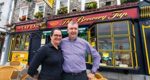 Cathy Anne and Paul Bell outside The Brewery Tap, Tullamore, Co Offaly. Photograph: Tom O'Hanlon