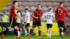 Bohemians' Dan Casey celebrates with Danny Grant at the final whistle. Photograph: Inpho