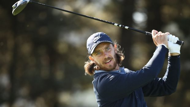 Tommy Fleetwood of England plays his shot from the 14th tee during the second round of the 2020 PGA Championship. Photograph: Ezra Shaw/Getty