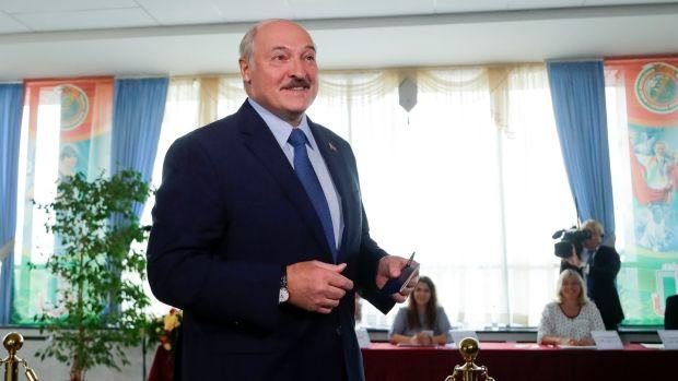 Belarusian president Alexander Lukashenko at a polling station in Minsk. Photograph: Sergei Grits/AP