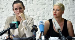 Presidential candidate Svetlana Tikhanovskaya and her ally Maria Kolesnikova hold a press conference on Monday. Photograph: Sergi Gapon/ Getty Images